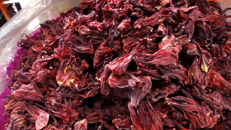 Dried sepals of HIbiscus sabdariffa.
