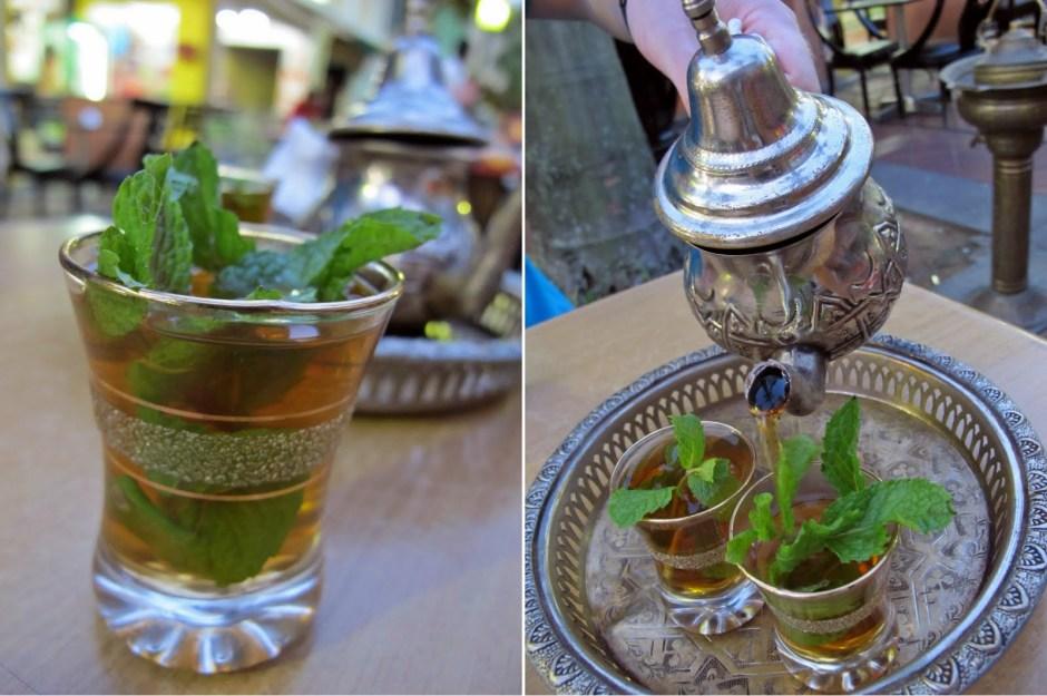 Traditional Moroccan mint tea.
